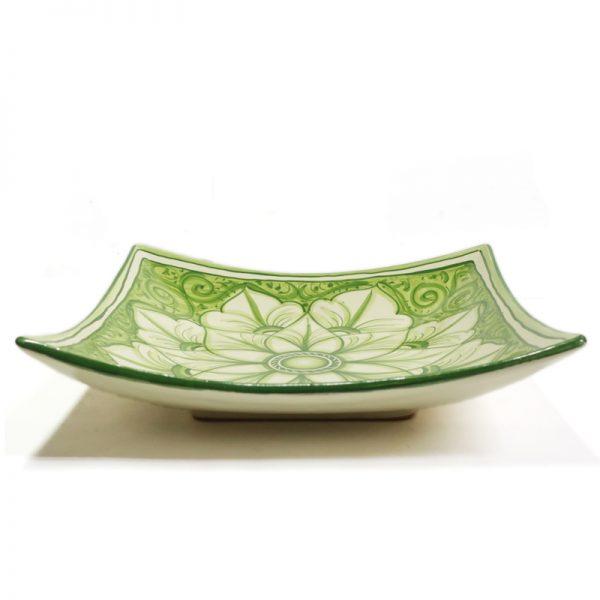 piatto quadrato in ceramica verde, green squared plate in pottery