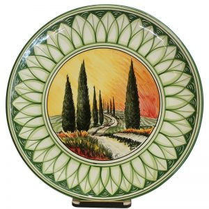 piatto verde in ceramica con dipinto toscana, green plate in ceramic with tuscany painting