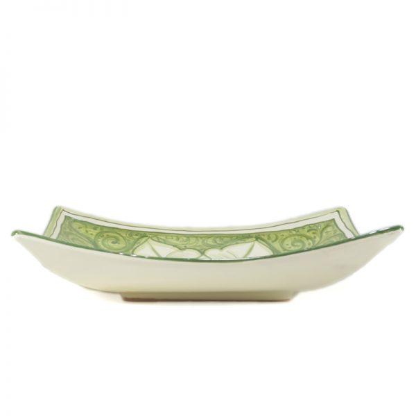 piatto verde in ceramica dipinto a mano in toscana, green squared plate in ceramic handpainted in tuscany