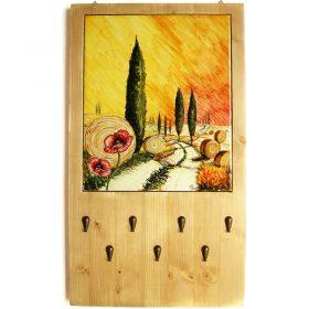 portachiavi da parete legno e ceramica, wooden and ceramic wall key holder