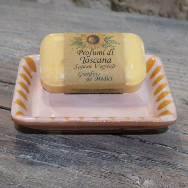 portasapone in ceramica dipinto a mano giallo arancio e saponetta giardino medici, hand painted ceramic soap dish yellow orange and soap medici