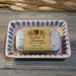 portasapone toscana in ceramica dipinto a mano e saponetta vegetale lavanda, hand painted ceramic soap dish tuscany and lavender vegetable soap