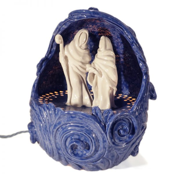 presepio artistico in ceramica con luce, artistic crib in ceramic with light