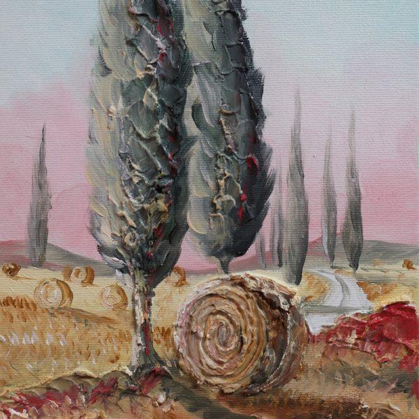 quadro ad olio cipressi toscana, oil painting cypresses of Tuscany