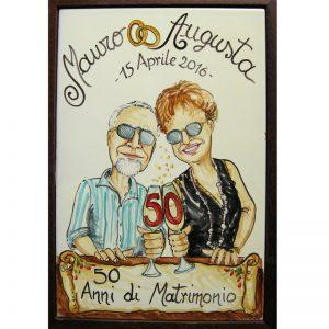 quadro anniversario matrimonio 50 anni nozze oro regalo personalizzato, ceramic painting custom 50 Years Wedding Anniversary Couple