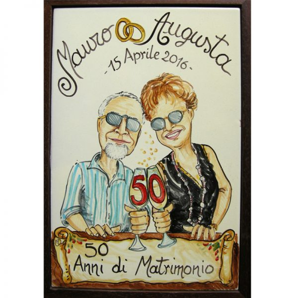 quadro anniversario matrimonio 50 anni nozze oro regalo personalizzato, ceramic painting custom 50 Years Wedding Anniversary Couple