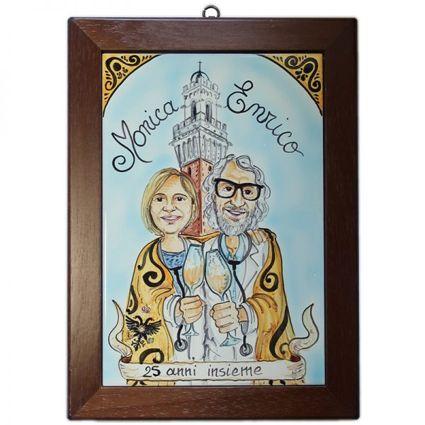 quadro caricatura regalo anniversario matrimonio 25 anni nozze argento, ceramic painting custom 25 Years Wedding Anniversary Couple