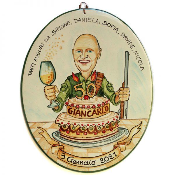 quadro caricatura regalo personalizzato compleanno 50 anni, caricature personalized gift birthday 50 years