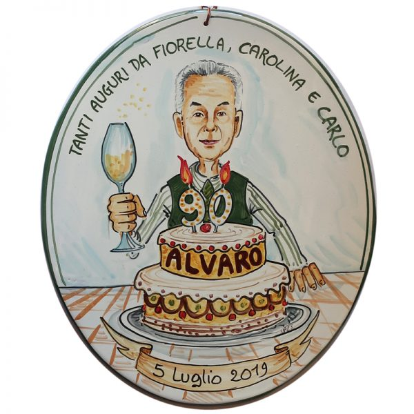 quadro caricatura regalo personalizzato compleanno nonno, caricature personalized gift birthday grandfather