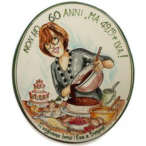 quadro ceramica caricatura regalo personalizzato compleanno 60 anni, caricature personalized gift birthday 60 years