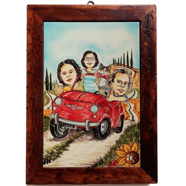 quadro ceramica personalizzato famiglia con gatto Toscana, ceramic tile for family with cat gift custom