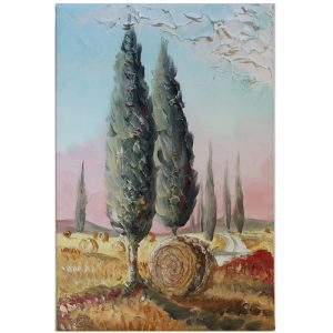 quadro cipressi toscani olio su tela, oil painting on canvas tuscan cypresses