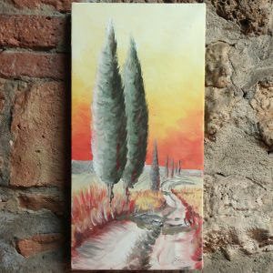 quadro con paesaggio toscana dipinto a mano ad olio su tela, tuscany landscape modern painting oil on canvas