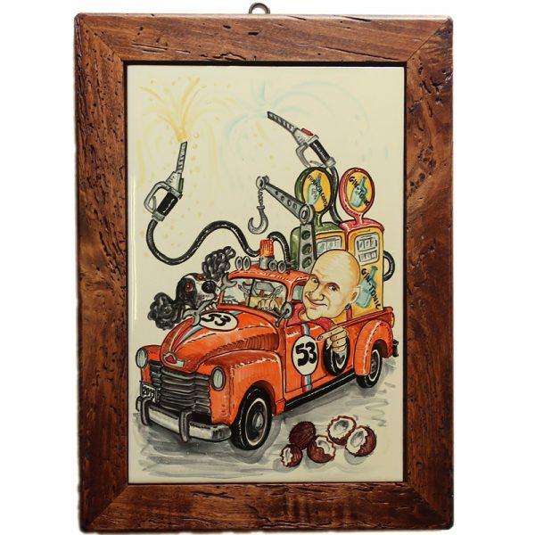 quadro dipinto a mano con caricatura regalo personalizzato per compleanno, hand painted caricature custom birthday gift