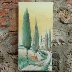 quadro dipinto ad olio con paesaggio toscano, oil painting with tuscan landscape
