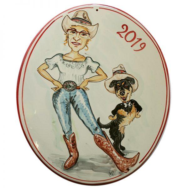 quadro in ceramica caricatura compleanno fatto a mano, personalized cartoon portrait for birthday