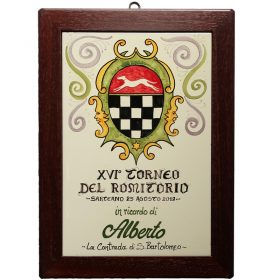 quadro in ceramica con stemma, ceramic tile with crest