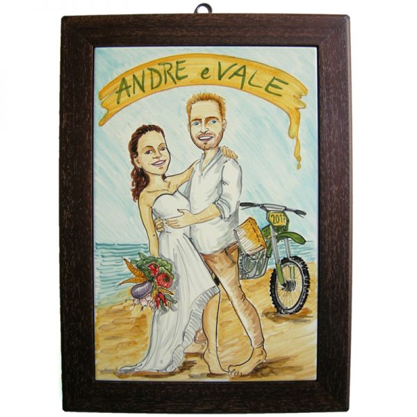 quadro matrimonio personalizzato dipinto a mano ceramica caricatura sposi regalo nozze fumetto, Wedding custom handpainted ceramic painting cartoon marriage