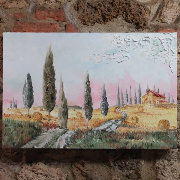 quadro moderno con paesaggio rurale, modern oil painting with landscape