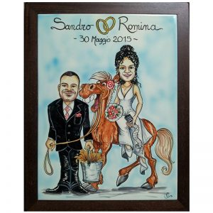 quadro oggi sposi personalizzato ceramica caricatura cavallo matrimonio regalo nozze, Wedding personalized gift handpainted ceramic painting marriage