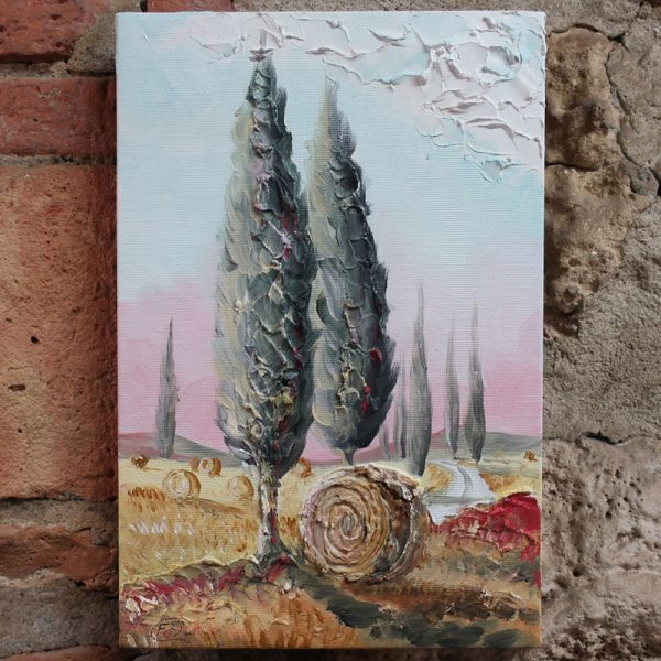 quadro olio su tela cipressi toscana, oil painting on canvas tuscany cypresses