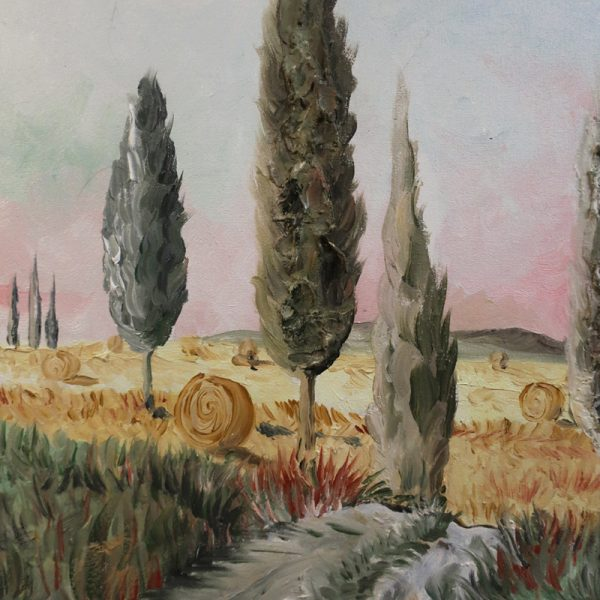 quadro olio su tela colline toscane, painting oil on canvas with tuscan hills