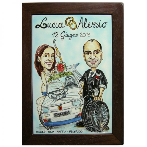 quadro personalizzato ceramica caricatura regalo Matrimonio nozze, Wedding custom handpainted ceramic painting cartoon marriage