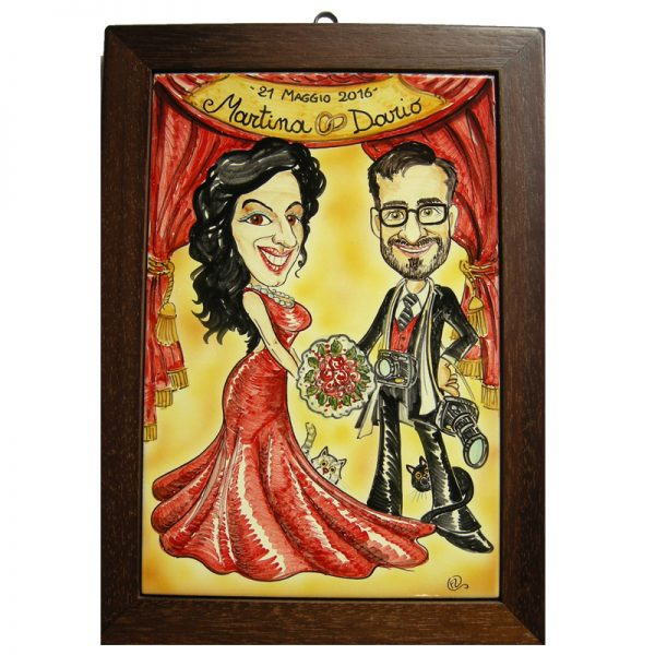 quadro personalizzato ceramica caricatura regalo sposi Matrimonio nozze, Wedding custom handpainted ceramic painting cartoon marriage comics