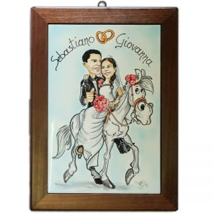 quadro sposi a cavallo personalizzato ceramica caricatura matrimonio regalo nozze originale, Wedding custom handpainted ceramic painting cartoon marriage