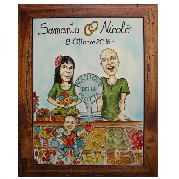 quadro sposi ceramica caricatura matrimonio regalo nozze personalizzato, Wedding personalized gift handpainted ceramic painting marriage
