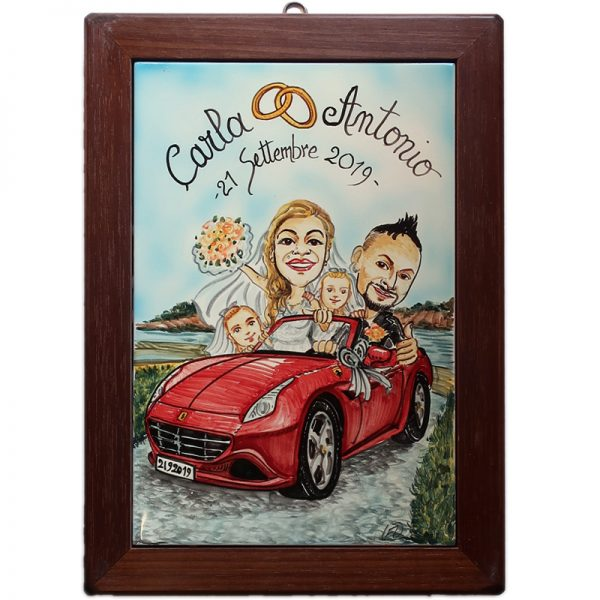 quadro sposi personalizzato ceramica caricatura divertente matrimonio regalo nozze, Wedding custom handpainted ceramic painting cartoon marriage