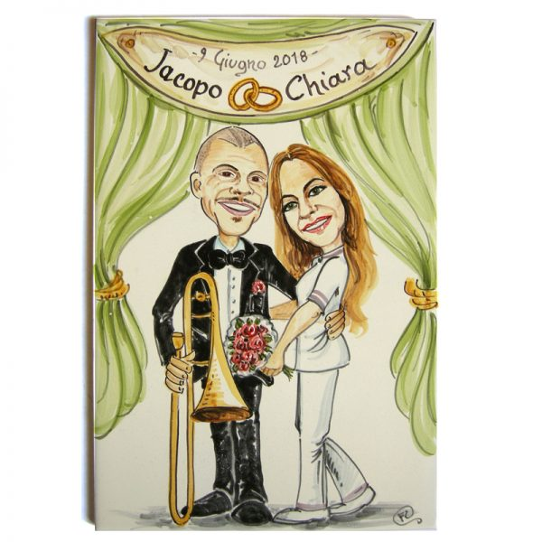quadro sposi personalizzato ceramica caricatura matrimonio regalo nozze originale, Wedding custom handpainted ceramic painting cartoon marriage