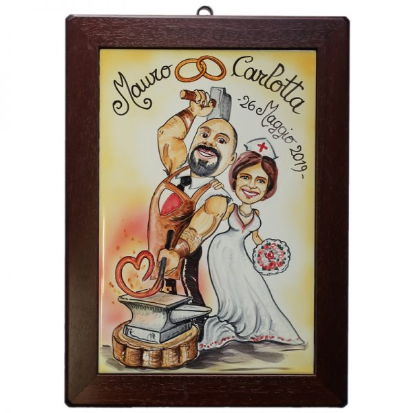 quadro sposi personalizzato ceramica caricatura matrimonio regalo nozze umoristico, Wedding custom handpainted ceramic painting cartoon marriage