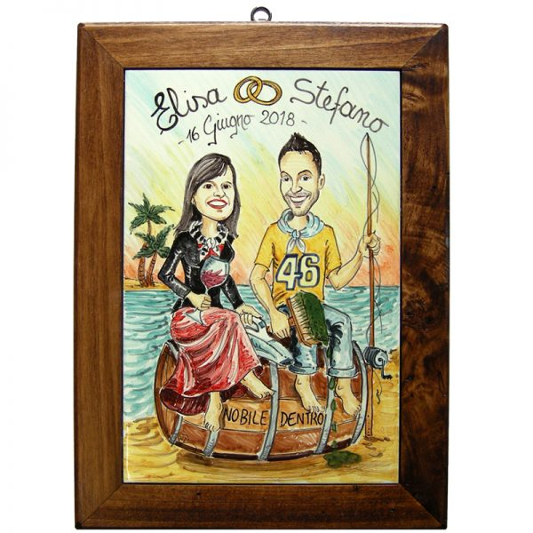 quadro sposi personalizzato dipinto a mano ceramica caricatura matrimonio regalo nozze fumetto, Wedding custom handpainted ceramic painting cartoon marriage
