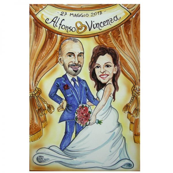 regalo matrimonio ceramica caricatura sposi regalo personalizzato nozze, Wedding custom handpainted ceramic painting cartoon marriage