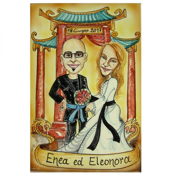 regalo matrimonio personalizzato ceramica caricatura sposi regalo nozze fumetto, Wedding custom handpainted ceramic painting cartoon marriage