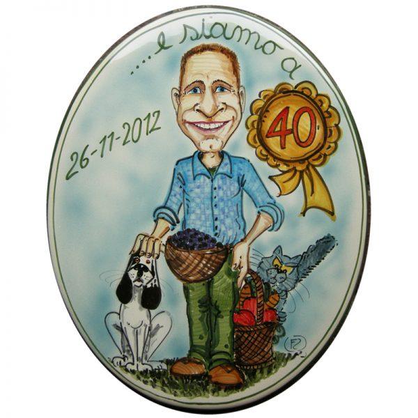 regalo personalizzato 40 anni caricatura ceramica compleanno, caricature birthday custom gift ceramic tile