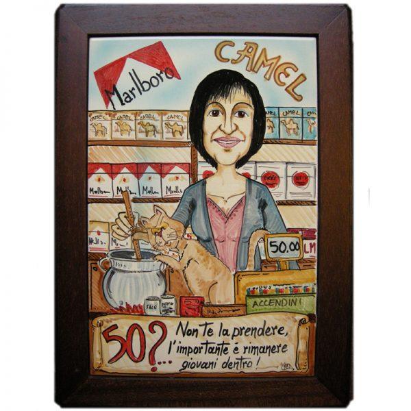 regalo personalizzato 50 anni caricatura ceramica mestiere compleanno, caricature birthday custom gift ceramic tile
