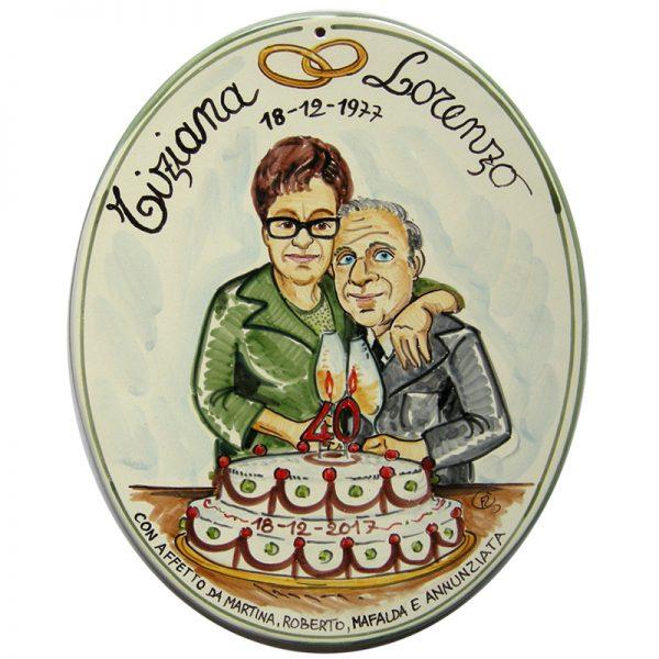 regalo personalizzato ceramica Anniversario Matrimonio 25 anni Nozze Argento 50 anni Nozze Oro, Wedding Anniversary custom handpainted ceramic tile
