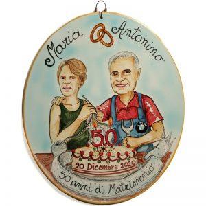 regalo personalizzato ceramica Anniversario Matrimonio 50 anni Nozze Oro, Wedding Anniversary custom handpainted ceramic tile