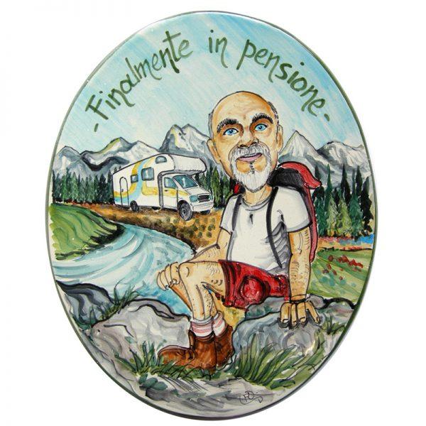regalo personalizzato pensione targa ceramica artigianato caricatura, custom gift idea retirement handcrafted ceramic tile caricature