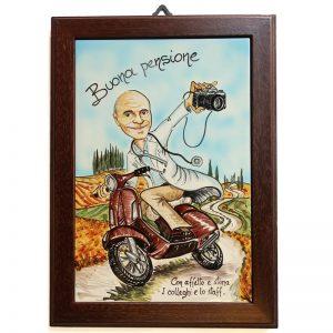 regalo personalizzato quadro caricatura buona pensione, custom painting gift retirement comics caricature