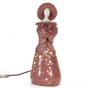 rosa lampada donna con fiore in ceramica, rose table lamp woman with flower in ceramic