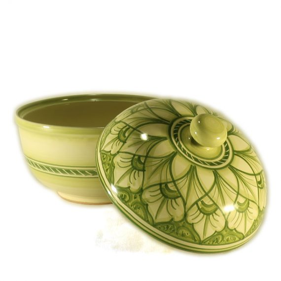 Round ceramic box for cookies with green decoration, handmade in Tuscany, diameter 19 cm.