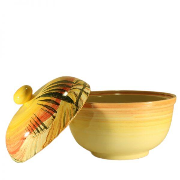 scatola in ceramica porta cioccolatini con paesaggio toscana dipinto a mano, cookie jar in ceramic with handpainted tuscany landscape