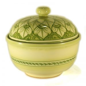 scatola in ceramica porta cioccolatini verde dipinta a mano, handpainted cookie jar in ceramic green color