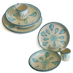set ceramica prima pappa bambino con palloncini regalo personalizzato nascita battesimo, personalized gift for child