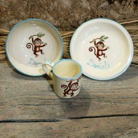 set ceramica prima pappa bambino con simpatica scimmietta regalo personalizzato nascita battesimo, ceramic personalized gift for child