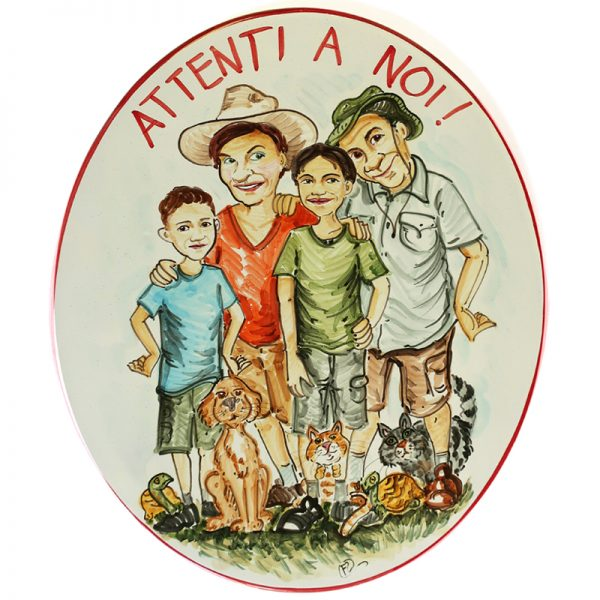 targa ceramica attenti a noi caricatura famiglia, ceramic tile custom caricature family