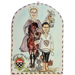 targa ceramica celebrazione regalo simpatco caricatura amici marito moglie, ceramic tile hand painted caricature friends husband wife